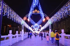 la notte a Sha Tin Festive Lighting fotografia stock