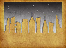 La notte urbana dell'orizzonte dei grattacieli della città stars il fondo di effetto di struttura delle precipitazioni nevose Fotografia Stock Libera da Diritti