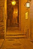 La notte in vie di Gerusalemme Immagine Stock Libera da Diritti