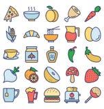 La nourriture, boissons, fruits, légumes dirigent des icônes a placé cela peut être facilement modifiée ou éditée illustration de vecteur