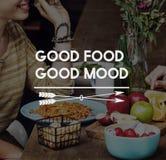 La nourriture délicieuse mangent le concept bon de dîner de restaurant Photographie stock