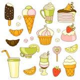 La nourriture de vecteur a placé avec les bonbons, la glace, le gâteau et le café Images libres de droits