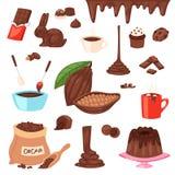 La nourriture douce de choco de cacao de bande dessinée de vecteur de chocolat des cacao-haricots durcissent l'ensemble d'illustr illustration libre de droits