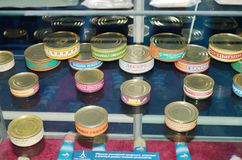 La nourriture est mise en boîte aux banques Photo libre de droits