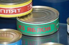 La nourriture est mise en boîte aux banques Image stock