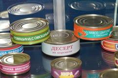La nourriture est mise en boîte aux banques Image libre de droits