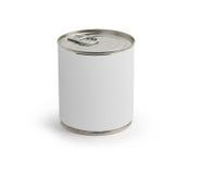 La nourriture peut avec une étiquette blanc sur le blanc Image stock