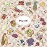 La nourriture romantique peu précise tirée par la main d'été d'éléments d'illustration réglée de vecteur d'icône de pique-nique b Photos libres de droits