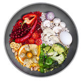 La nourriture s'est décomposée par couleur, nourritures rouges, blanc, vert, jaune, concept créatif Images libres de droits