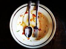La nourriture seulement de fourchette et de cuillère est disparue Photographie stock libre de droits