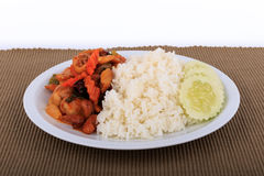 La nourriture thaïlandaise, poulet fait sauter à feu vif avec des noix de cajou, noix de cajou a fait frire avec le poulet et le  Image libre de droits