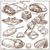 La nourriture traditionnelle de cuisine arabe bombe des icônes de menu de croquis de vecteur illustration de vecteur