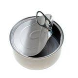 La nourriture vide en métal peut d'isolement sur le blanc Images stock