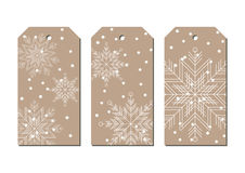 La nouvelle année et le Noël ouvrent des étiquettes de couleur de papier avec des flocons de neige illustration de vecteur