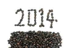 La nouvelle année 2014 a fait des grains de café Images stock