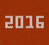 La nouvelle année 2016 a tricoté le tissu, modèle de knit Photographie stock