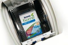 La nouvelle boîte de couleur de maison d'Amway a concentré la poudre Detergen de blanchisserie Photographie stock libre de droits