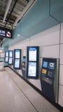 La nouvelle conception de MTR étiquette la machine - l'extension de la ligne d'île au secteur occidental, Hong Kong Images libres de droits