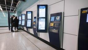 La nouvelle conception de MTR étiquette la machine - l'extension de la ligne d'île au secteur occidental, Hong Kong Image stock