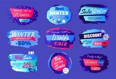 La nouvelle offre escompte la grande annonce de collection de vente d'hiver Image stock