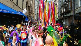 La Nouvelle-Orléans Mardi Gras Crowd Photos libres de droits
