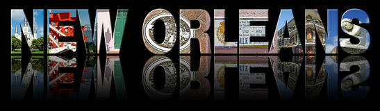 La Nouvelle-Orléans a reflété le texte Images libres de droits