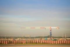 La nouvelle phase 2 d'expansion d'aéroport de Suvarnabhumi en construction, cela a conçu pour élever le passager annuel de Suvarn Photos libres de droits
