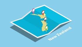 La Nouvelle Zélande explorent la nation de pays de cartes avec le style isométrique et goupillent l'étiquette d'emplacement sur l Photo stock