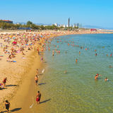 La Nova Icaria Beach, in Barcelona, Spain Royalty Free Stock Photo
