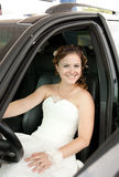 La novia en el coche Fotos de archivo