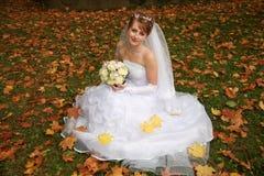 La novia en parque del otoño Fotos de archivo