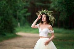 La novia está haciendo girar en su vestido Imagen de archivo libre de regalías