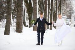 La novia feliz y el novio que corren en invierno parquean Foto de archivo