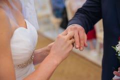 La novia lleva un anillo de bodas Imágenes de archivo libres de regalías