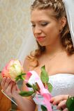 La novia mira una rosa Foto de archivo