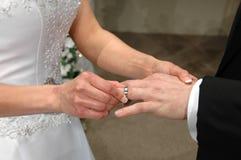 La novia que inserta un anillo internacional Fotos de archivo libres de regalías