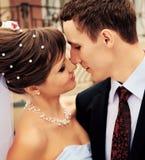 La novia y el novio a besarse en el momento Foto de archivo libre de regalías