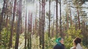 La novia y el novio caminan en un bosque del pino, llevando a cabo las manos y mirando uno a en el sol feliz junto boda almacen de video
