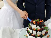 La novia y el novio cortaron el pastel de bodas imagenes de archivo