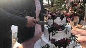 La novia y el novio en la boda cortan una torta tres-con gradas hermosa y la distribuyen a las huéspedes almacen de metraje de vídeo