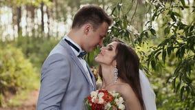 La novia y el novio en el bosque son cierre y la mirada en uno al ` s observa Tacto de la extremidad de la nariz metrajes