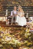 La novia y el novio en un estilo rústico que abraza sentarse en los pasos de piedra en el bosque del otoño, rodeado casandose la  Fotografía de archivo