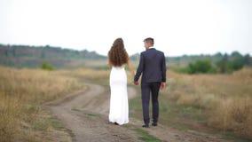 La novia y el novio están caminando a lo largo de la trayectoria en el campo almacen de video