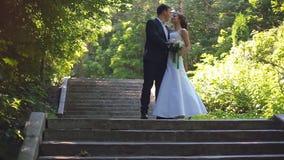 La novia y el novio están caminando a lo largo del callejón del parque metrajes