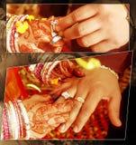 La novia y el novio están intercambiando los anillos de bodas fotografía de archivo