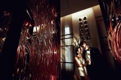 La novia y el novio felices se colocan en la sombra de las lámparas del hotel Imagen de archivo libre de regalías