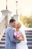 La novia y el novio para una caminata imagen de archivo