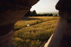 La novia y el novio que corren en un campo cerca del castillo Fotografía de archivo libre de regalías