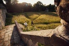 La novia y el novio que corren en un campo cerca del castillo Fotografía de archivo