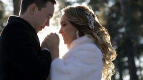 La novia y el novio se colocan en el bosque que lleva a cabo las manos abrochadas invierno metrajes